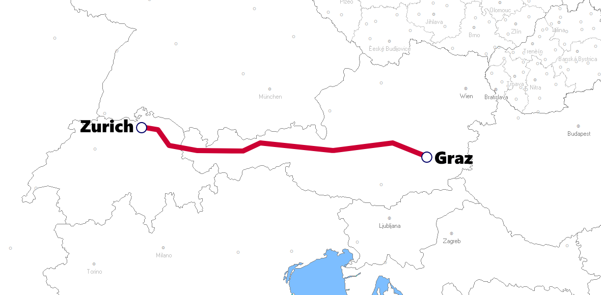 グラーツ発着夜行列車路線図