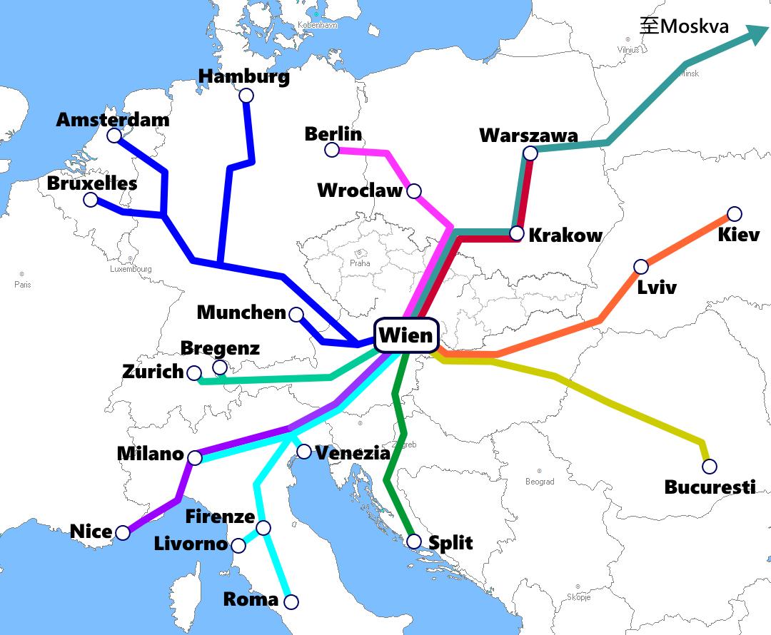 オーストリア(ウィーン)発着夜行列車路線図