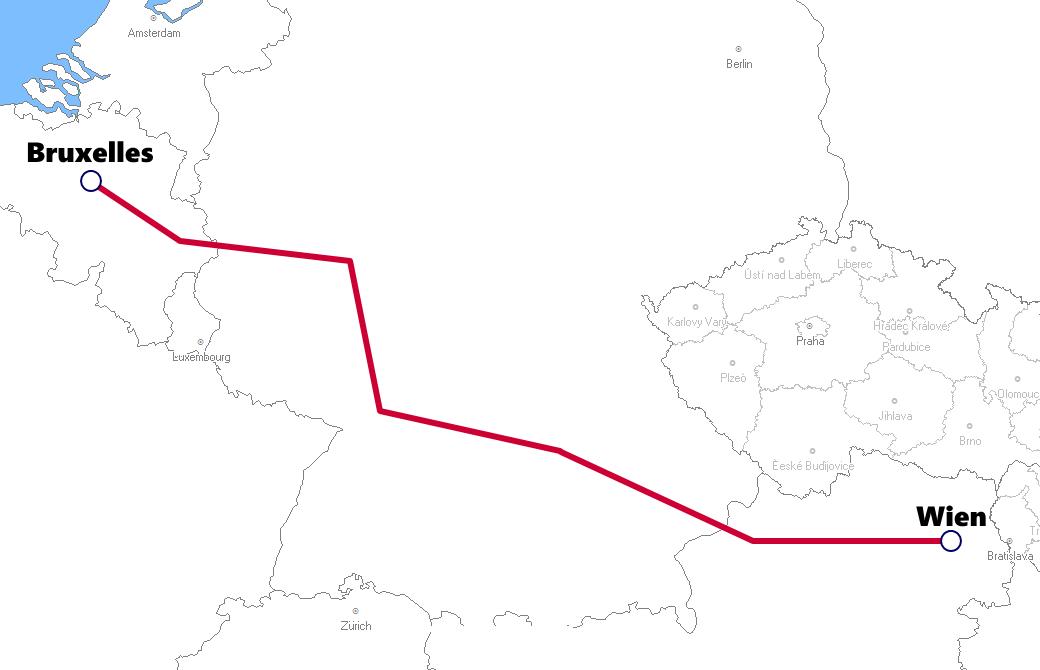 ベルギー発着夜行列車路線図