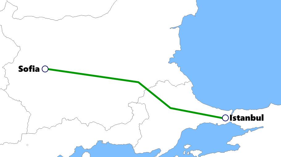 ブルガリア発着夜行列車路線図