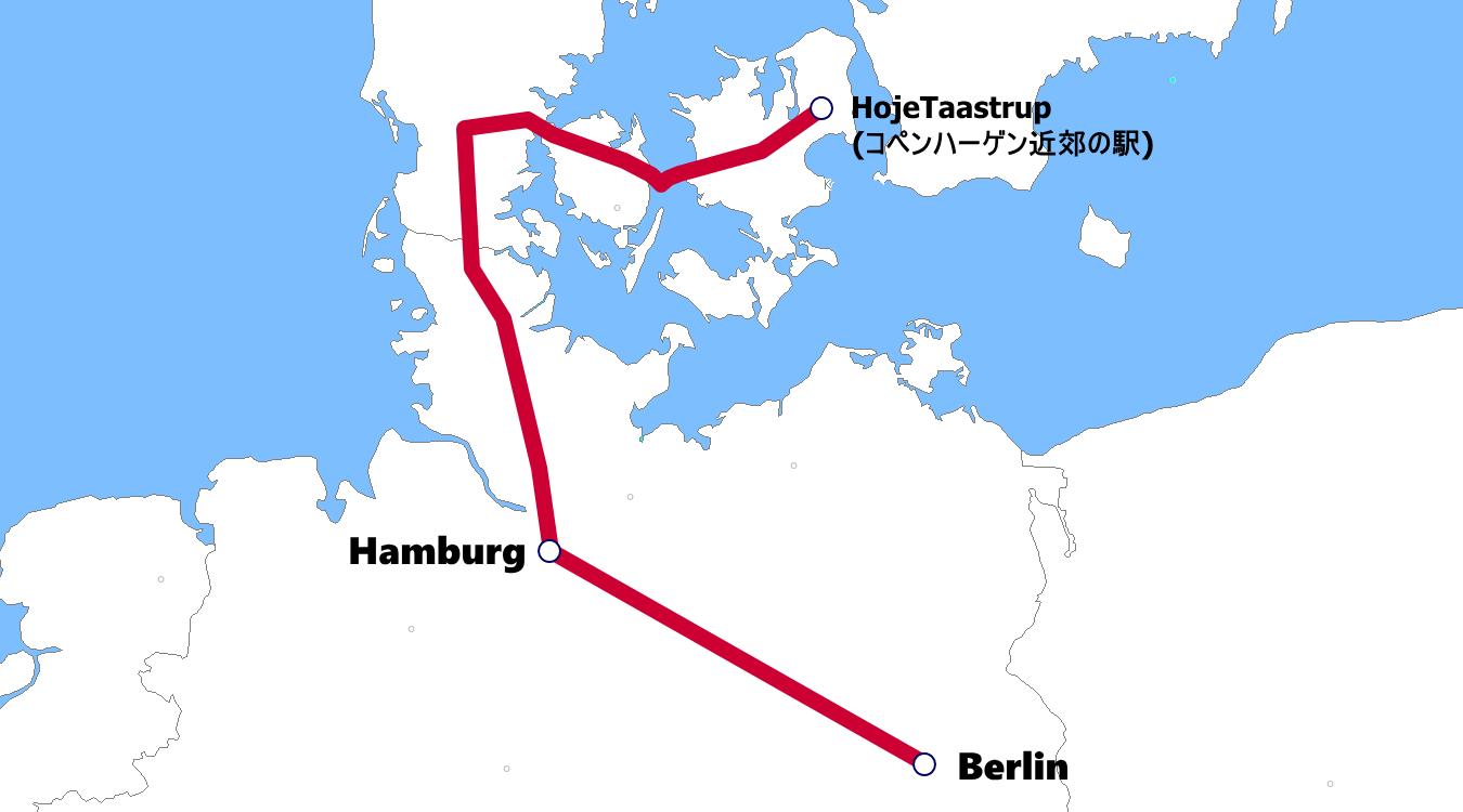 デンマーク発着夜行列車路線図
