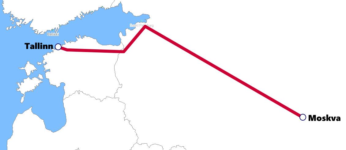 エストニアの夜行列車路線図