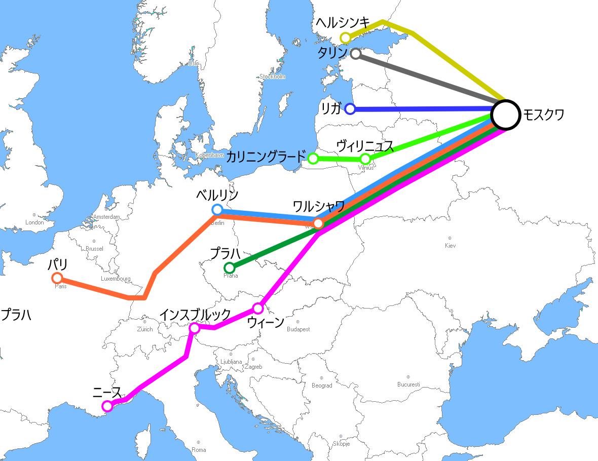 モスクワ発着夜行列車路線図