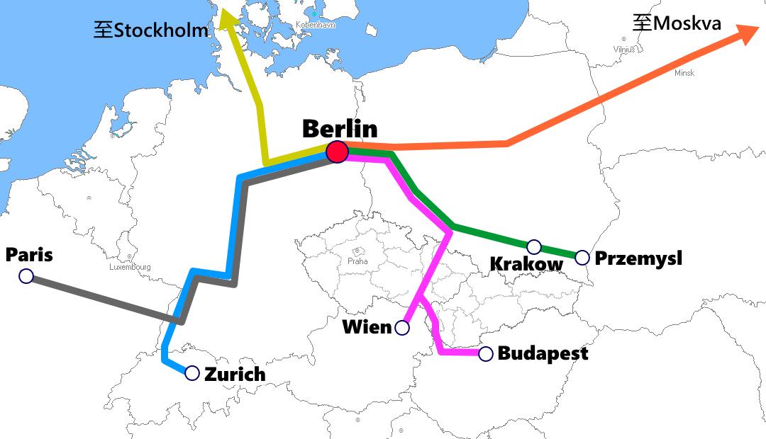 ベルリン発着夜行列車路線図