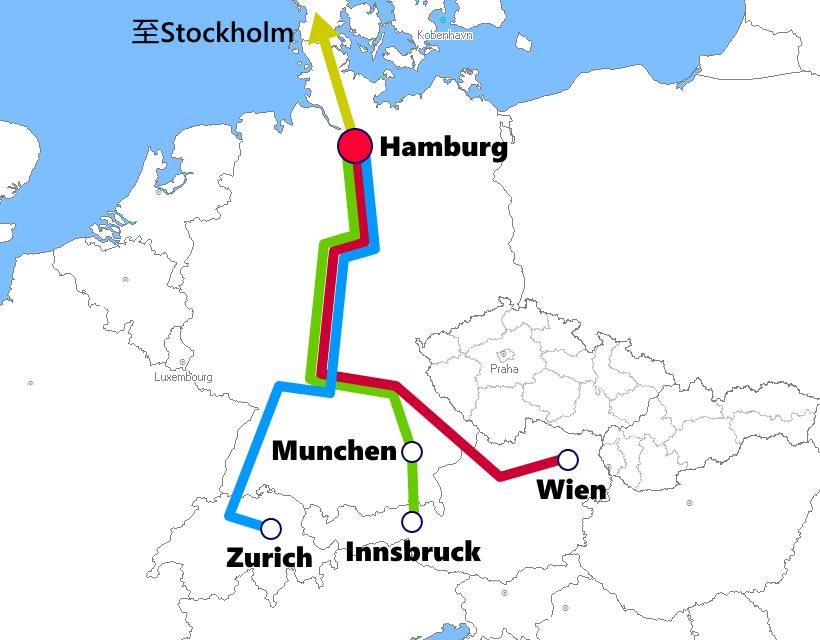 ハンブルグ発着夜行列車路線図