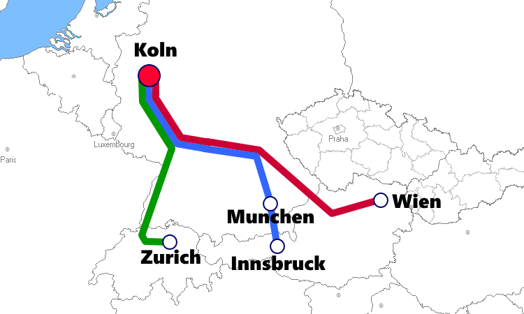 ケルン発着夜行列車路線図
