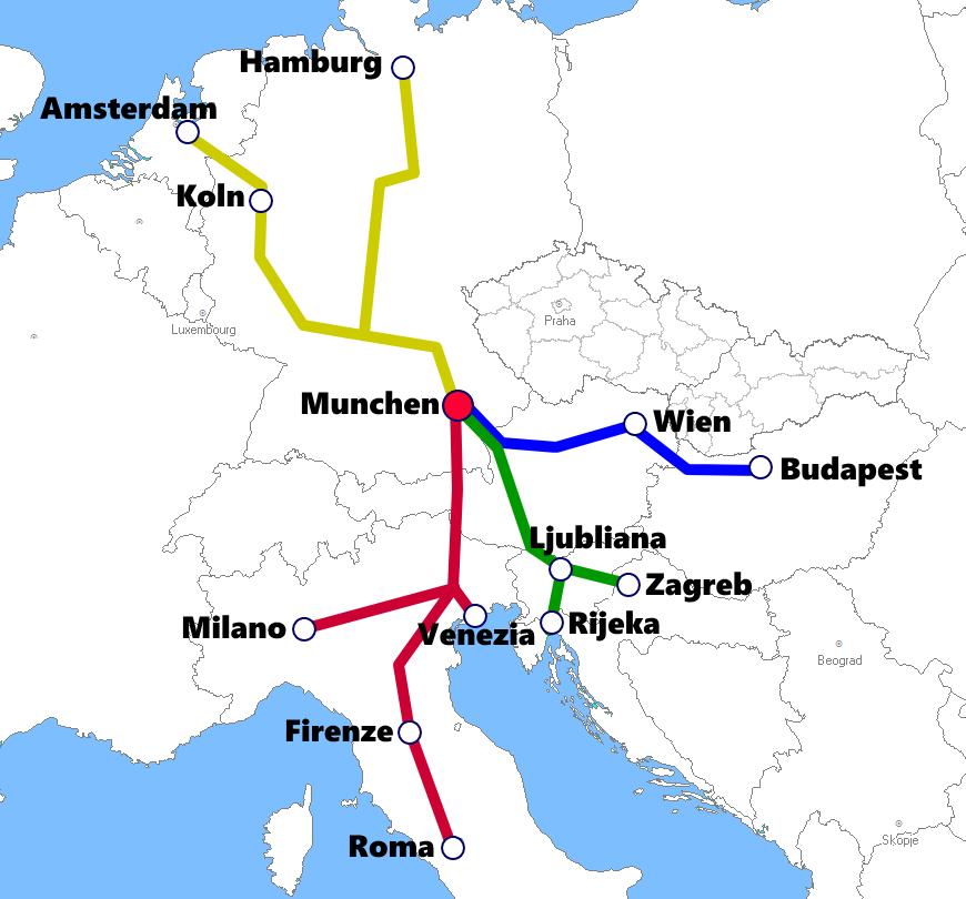 ミュンヘン発着夜行列車路線図