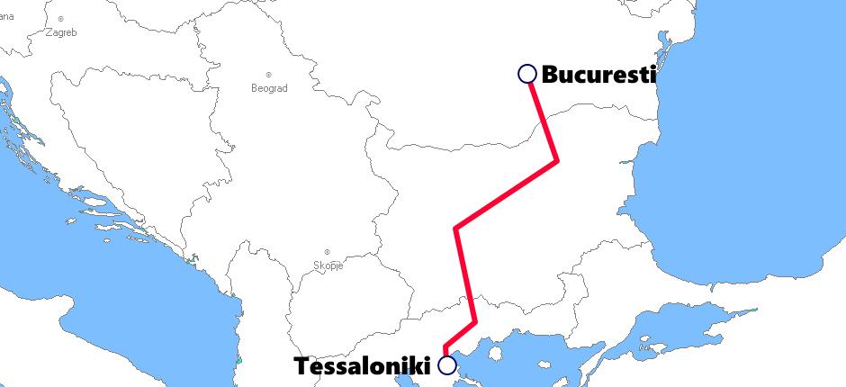 ギリシャ発着夜行列車路線図