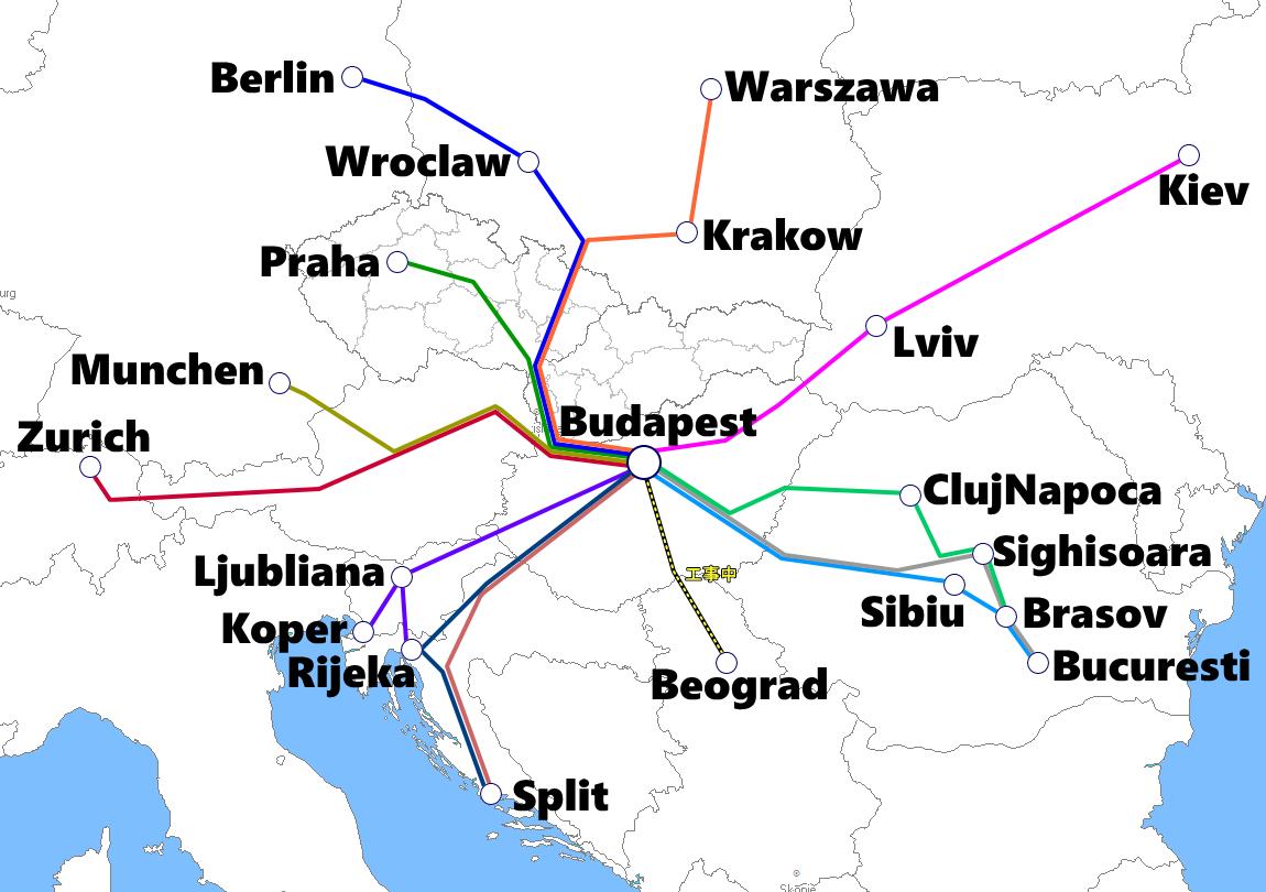 ハンガリー(ブダペスト)発着夜行列車路線図
