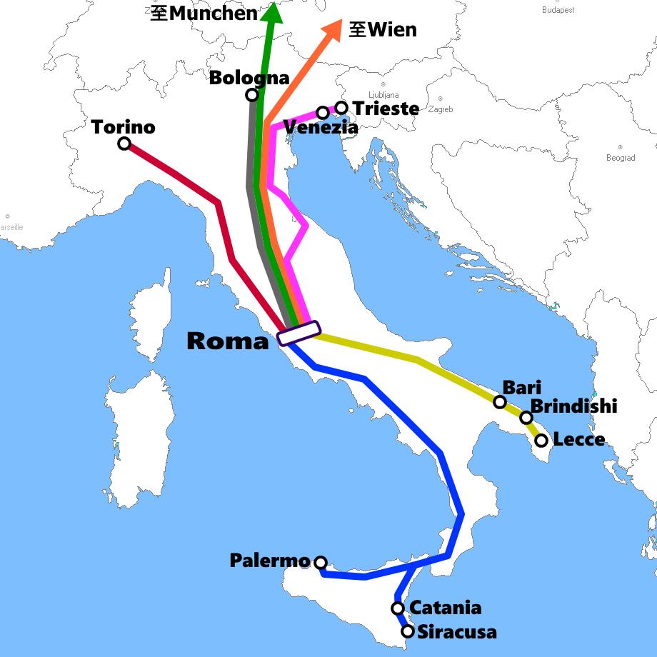 ローマ発着夜行列車路線図