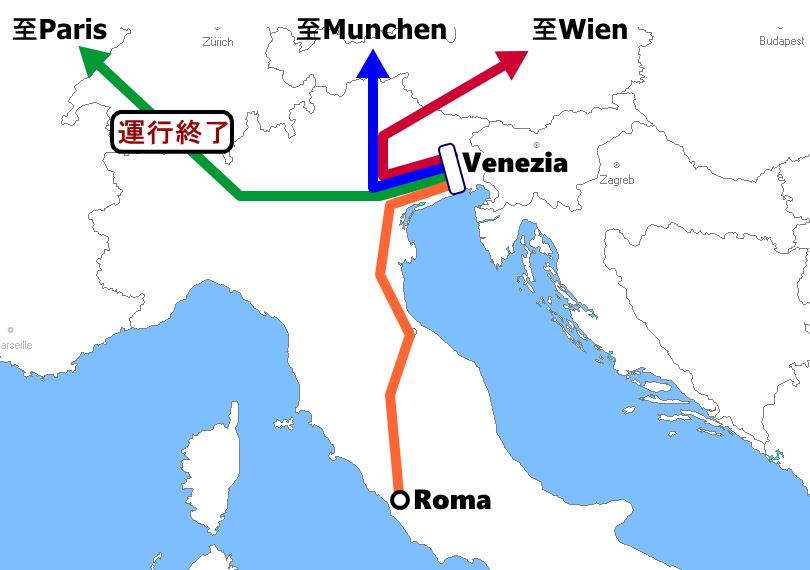 ヴェネチア発着夜行列車路線図