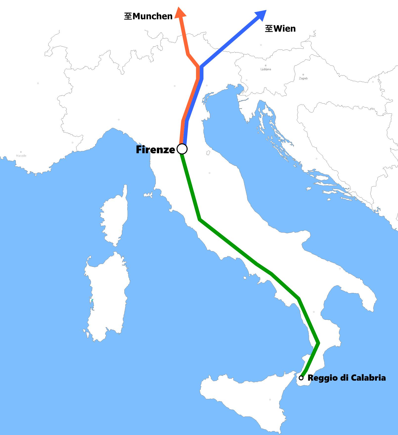 フィレンツェ発着夜行列車路線図