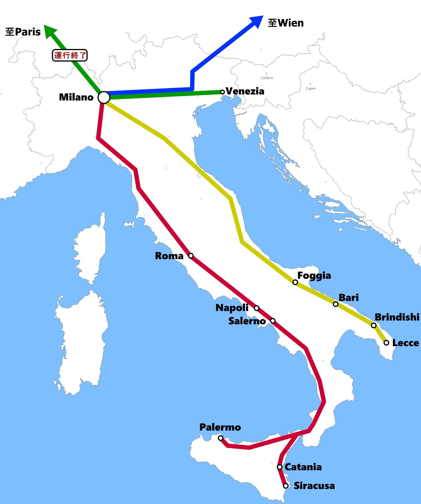 ミラノ発着夜行列車路線図