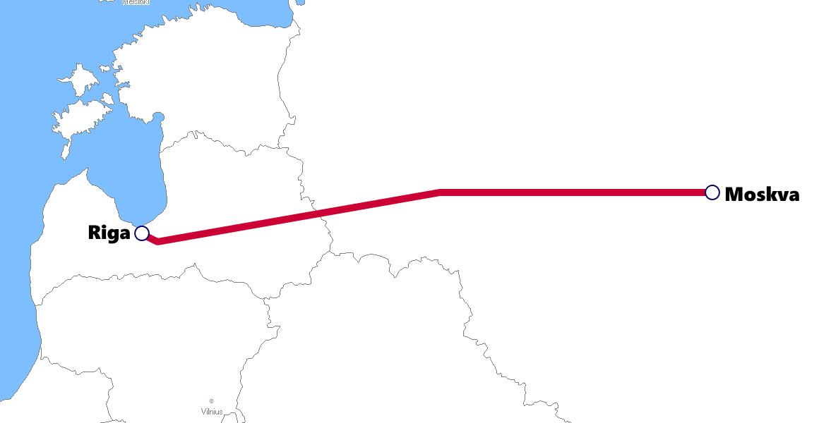 ラトビアの夜行列車路線図