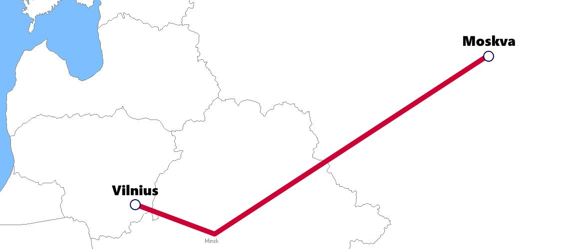リトアニアの夜行列車路線図