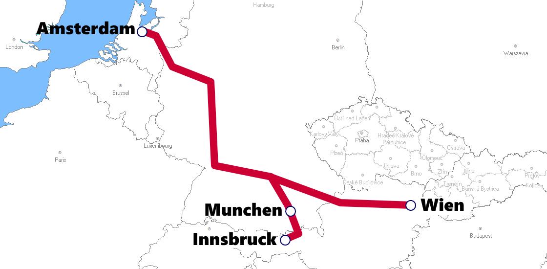 オランダ発着夜行列車路線図