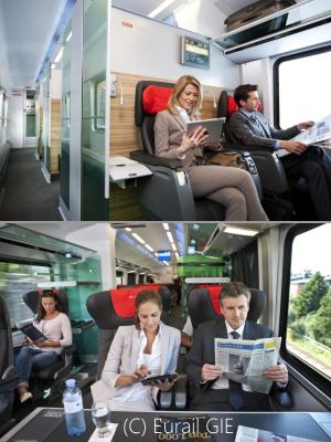 OBB Railjet 1等ビジネス座席写真