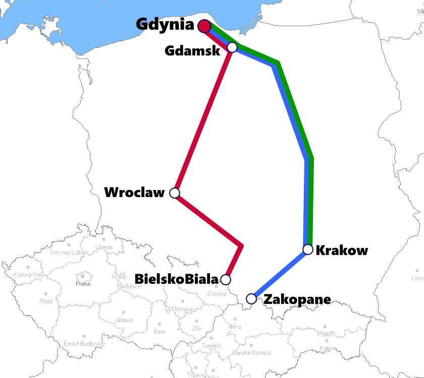 グディニア発着夜行列車路線図