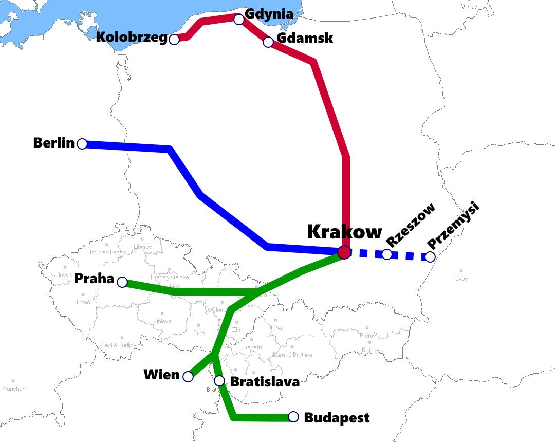 クラクフ発着夜行列車路線図