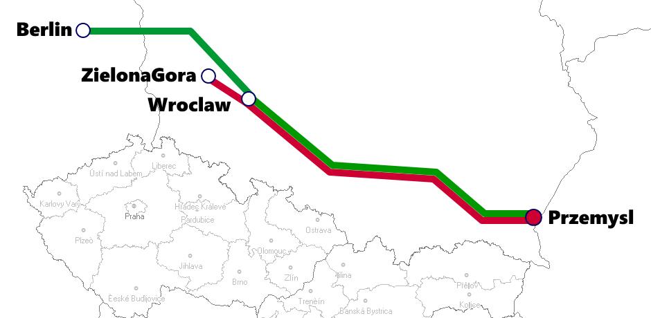 プシェミシル発着夜行列車路線図