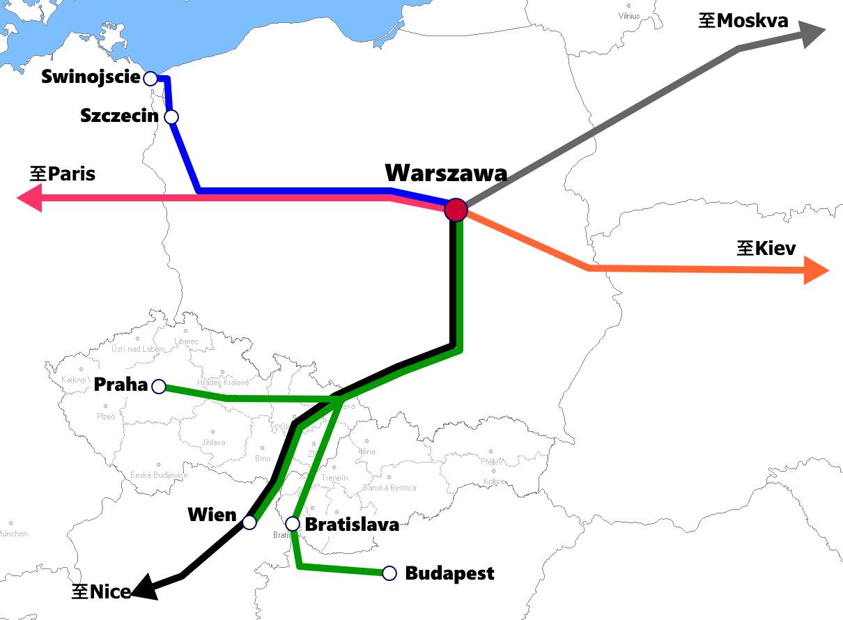 ワルシャワ発着夜行列車路線図