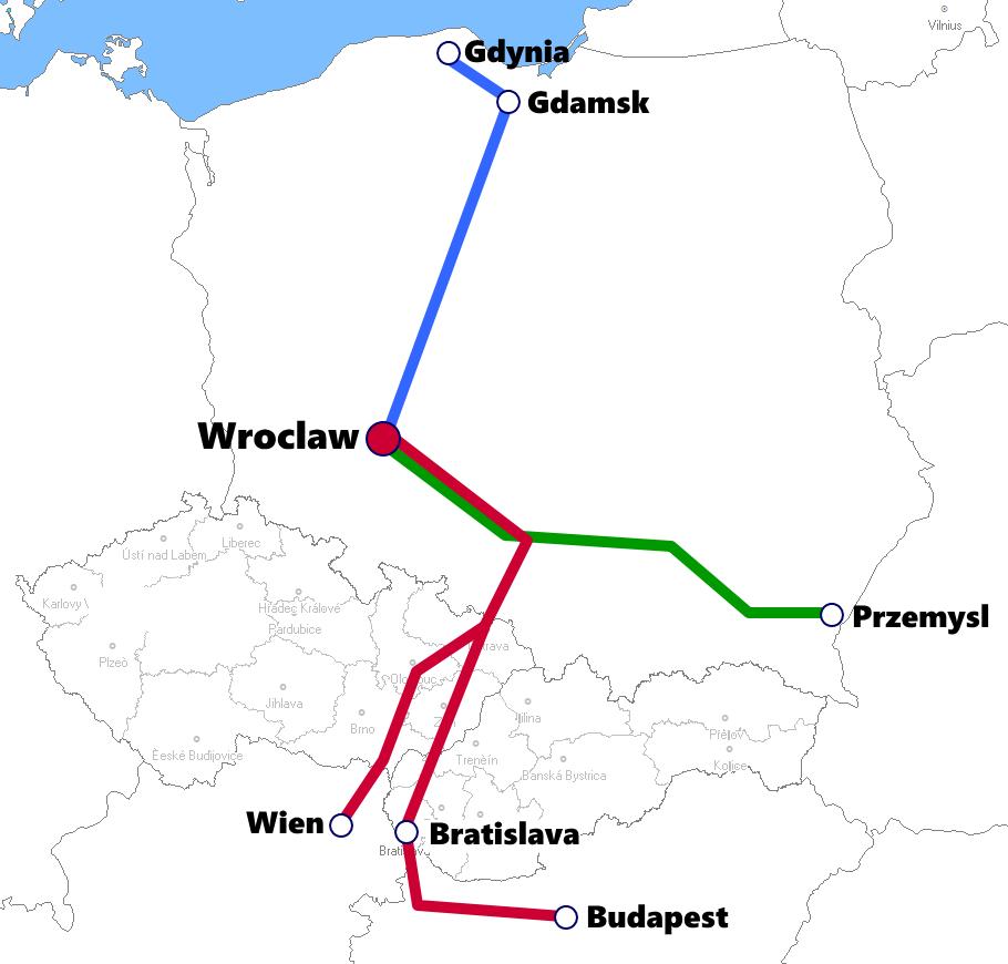 ブロツワフ発着夜行列車路線図