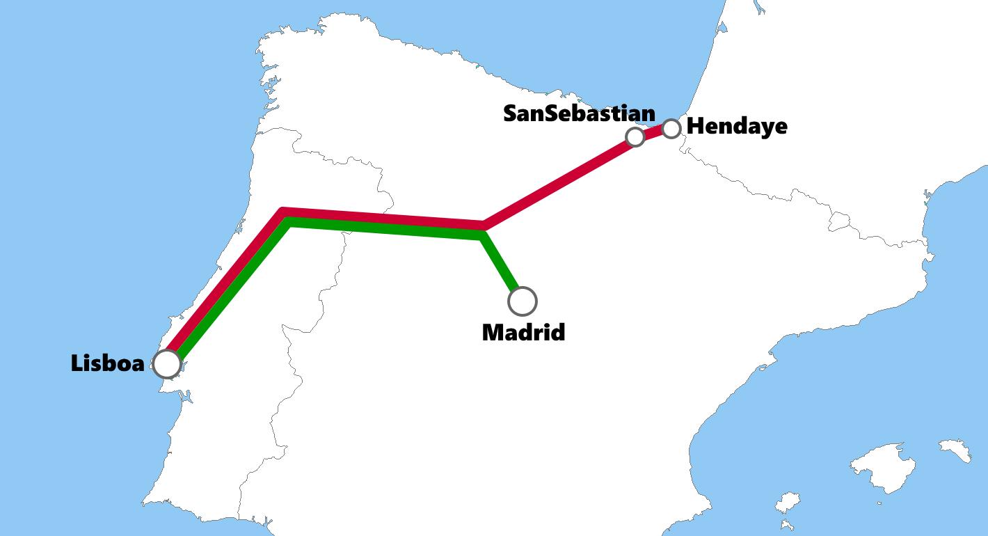 ポルトガルの夜行列車路線図