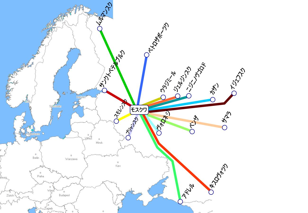 ロシアの夜行列車路線図