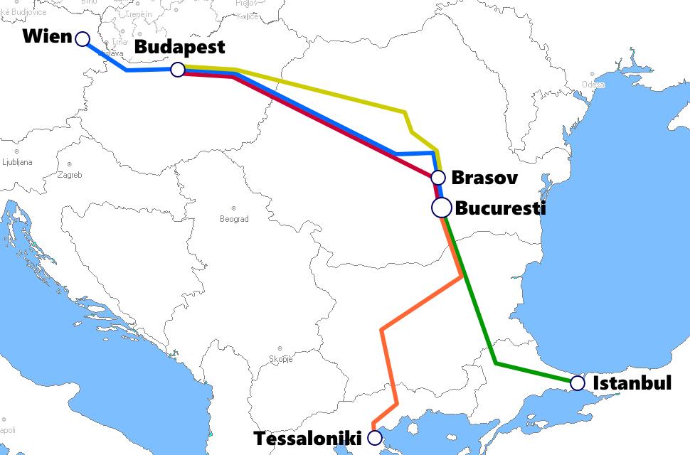 ルーマニア発着夜行列車路線図