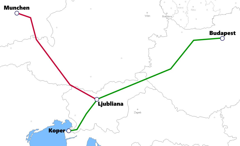 スロベニア発着夜行列車路線図