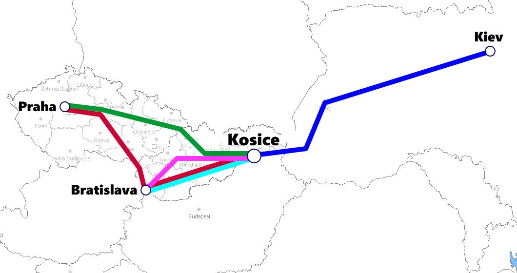 スロバキア(コシツェ)発着夜行列車路線図
