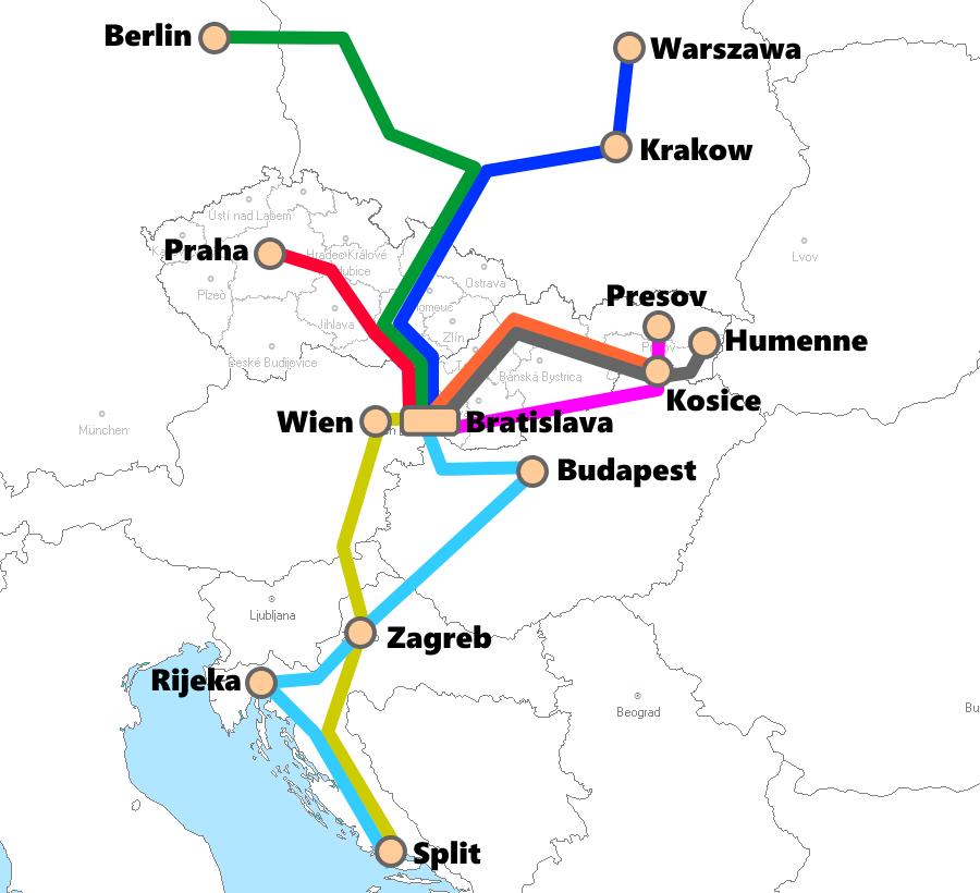 スロバキア(ブラチスラバ)発着夜行列車路線図