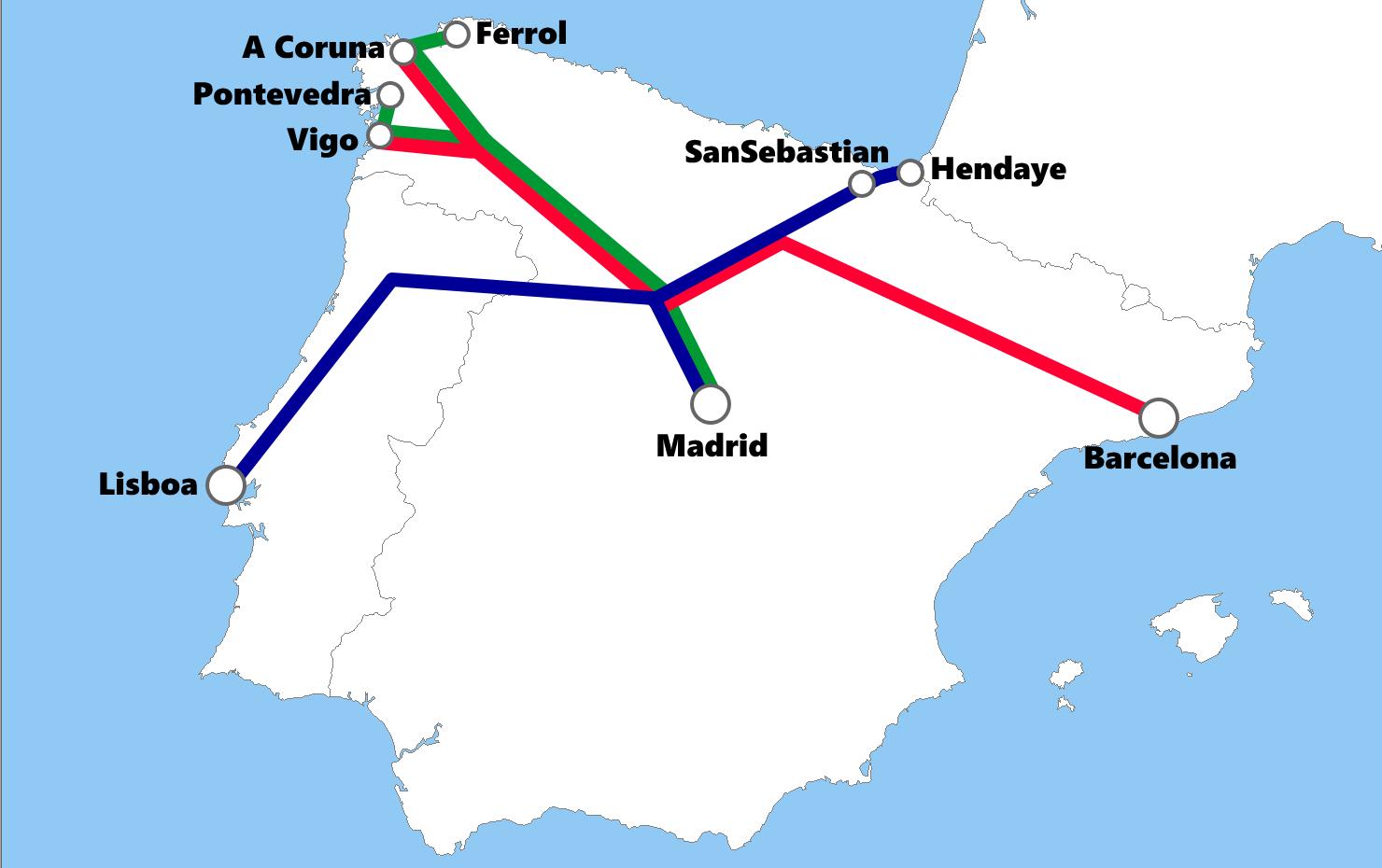 スペインの夜行列車路線図