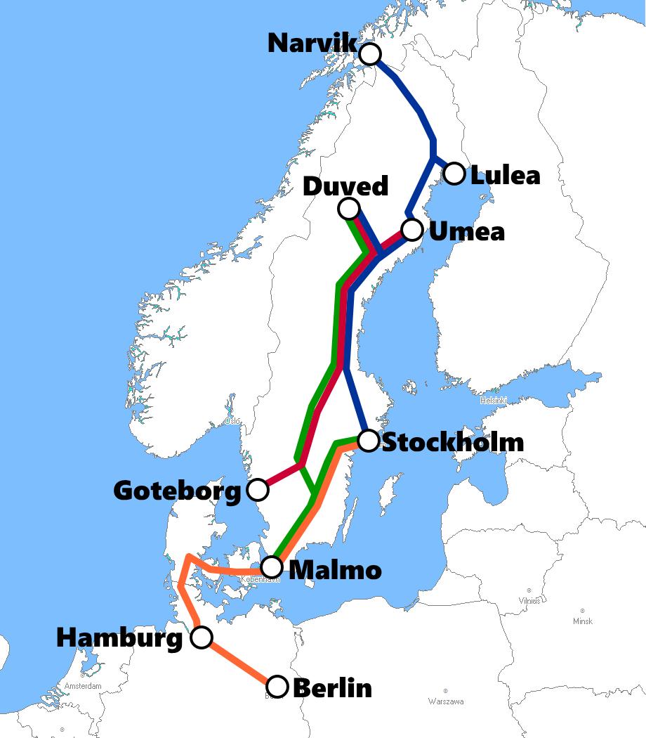 スウェーデンの夜行列車路線図