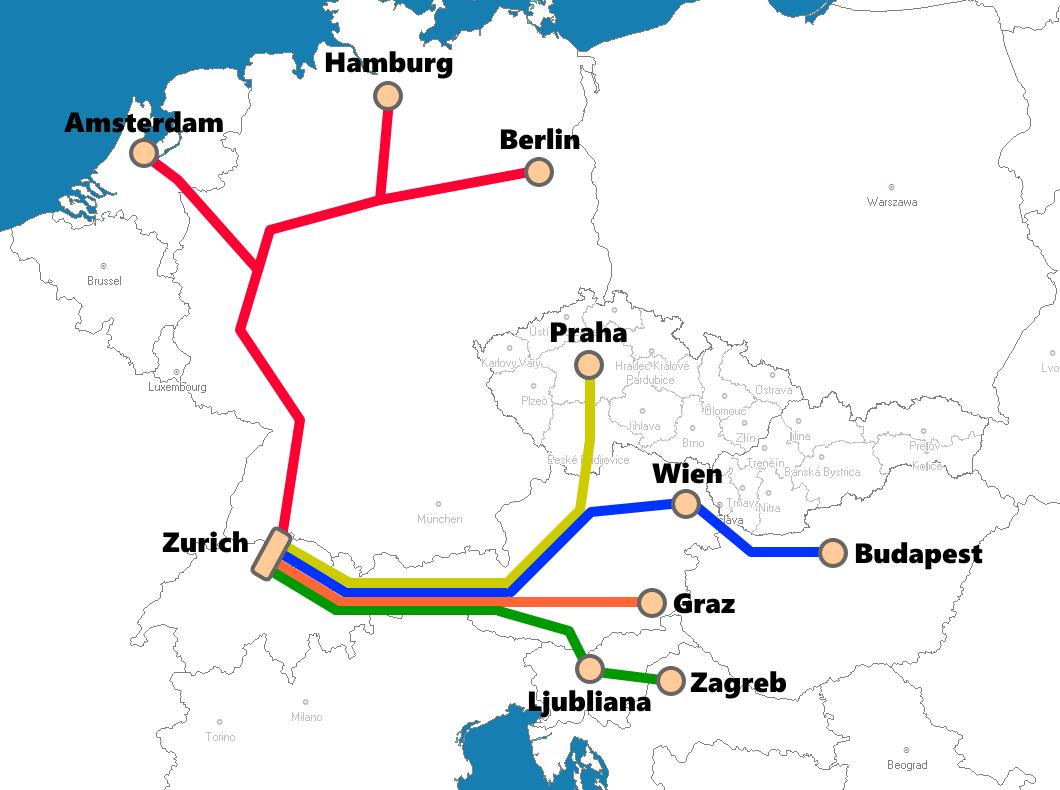 スイス(チューリッヒ)発着夜行列車路線図