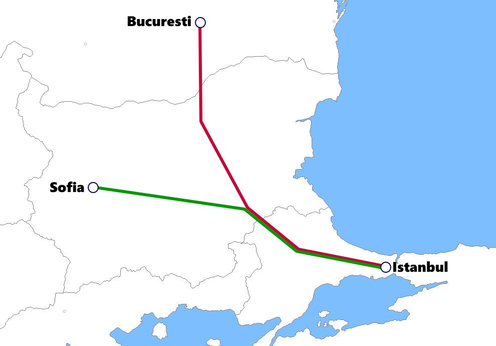イスタンブール発着夜行列車路線図