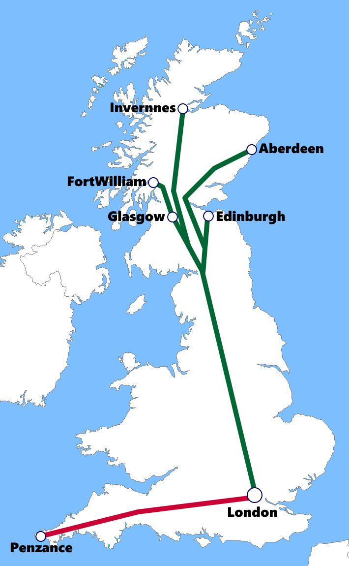 イギリスの夜行列車路線図